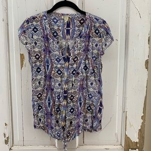 Lucky Brand Purple Blue Red Patterned Blouse